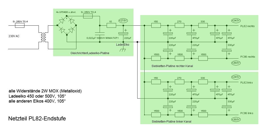 Schaltplan Netzteil PL82-Endstufe