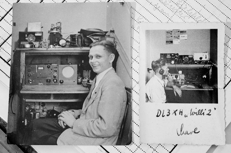 Wim DL3XH an einer seiner ersten Funkstationen. Das linke Foto ist datiert mit 1950.